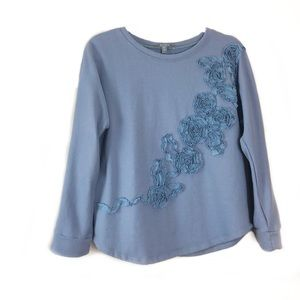 Anthropologie Blue Tassel Sweater  Floral